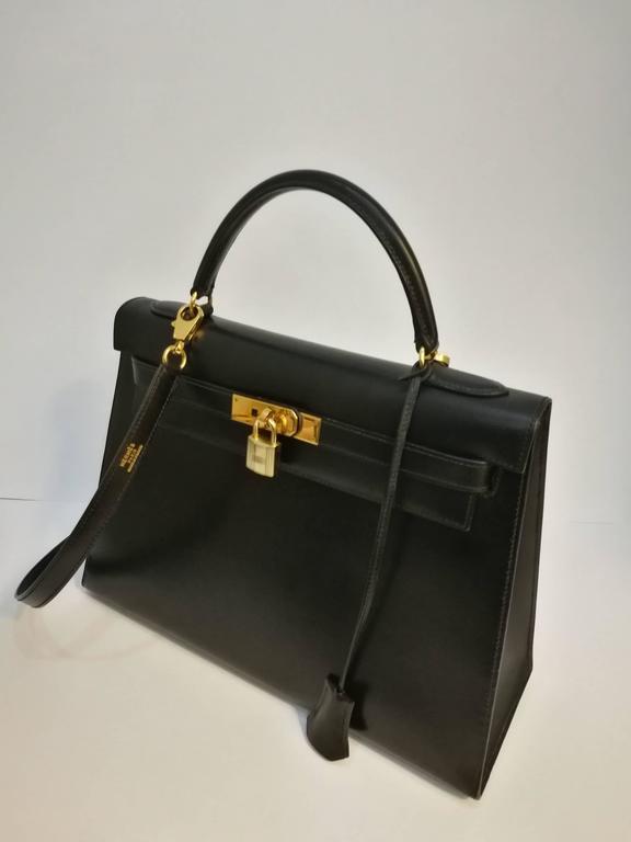 Hermes Black Leather Kelly For Sale 5