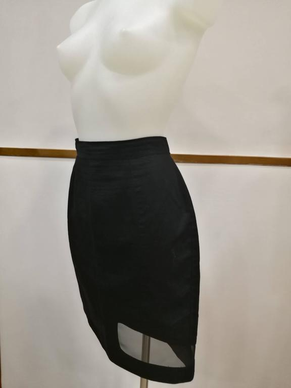 Thierry Mugler Activ Linen Black Skirt with Net totally made in italy in italian size range 46 Composition: 55 linen 40 cotton 5 nylon