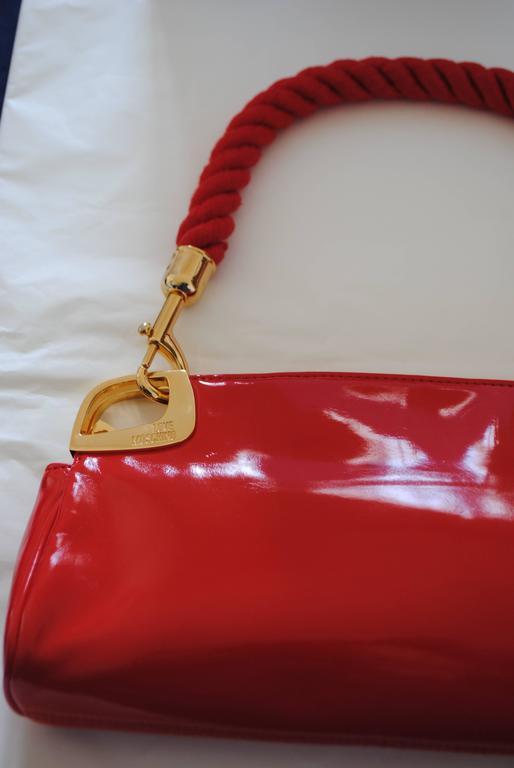 Love Moschino Red Carpet Varnish Red Leather Shoulder Bag Gold tone Hardware Removable Shoulder Chain  Shoulder total chain lenght 38 cm