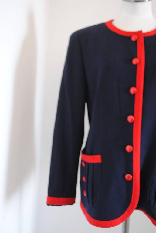 1980s Valentino Roma Red and Blue Sweater  Totally made in italy in italian size range 48  Composition: Wool