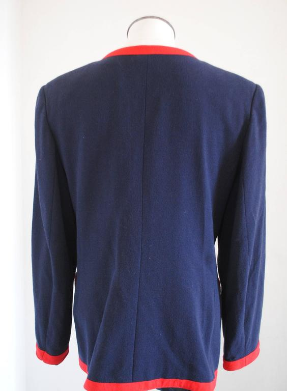 Women's 1980s Valentino Roma Red and Blue Sweater For Sale
