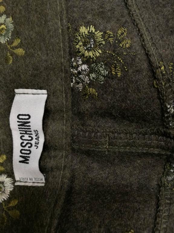 1980s Moschino Jeans Green Flowers embellished Pants In Excellent Condition For Sale In Capri, IT