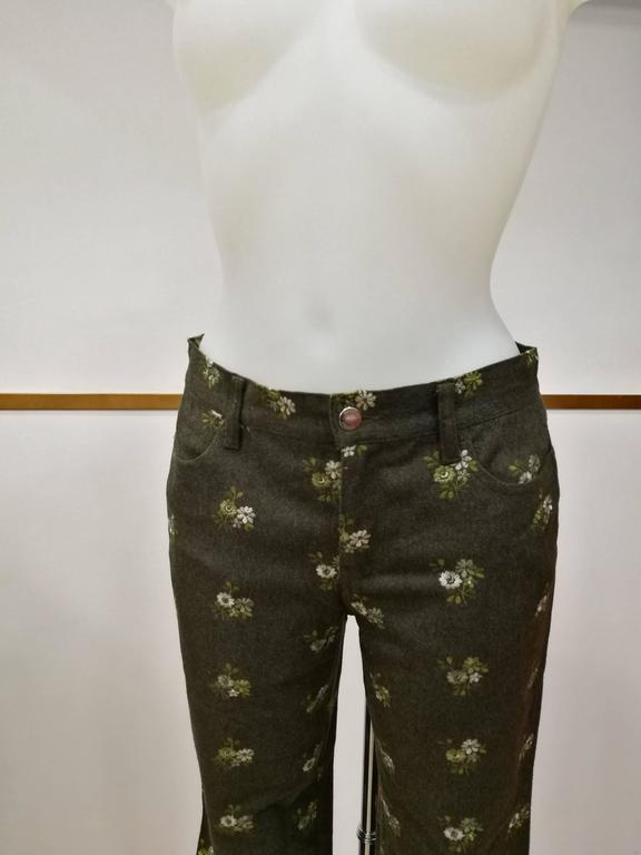 Women's 1980s Moschino Jeans Green Flowers embellished Pants For Sale