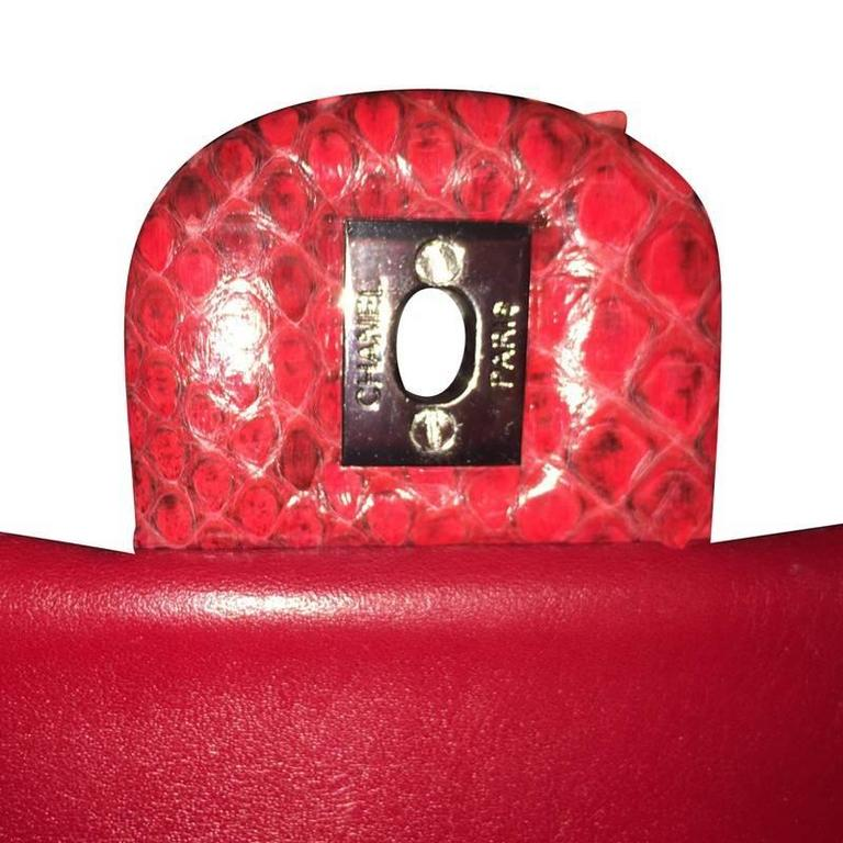 db5127d2b276 2014 Chanel 2.55 Rare Red Python Skin Limited Edition For Sale 1