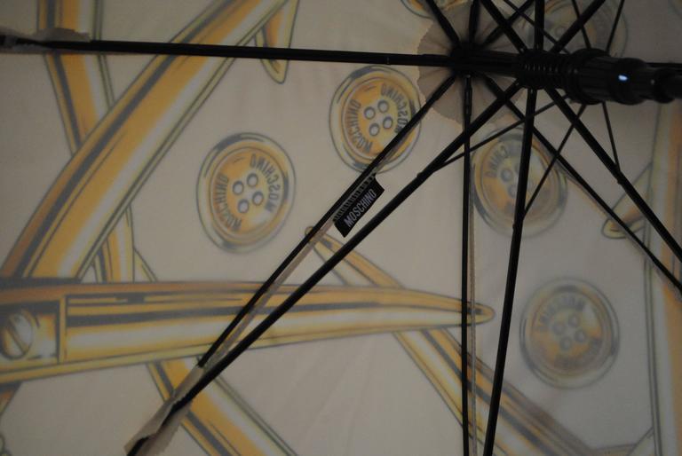 Moschino Cream Scissors Coins Measuring Tape Umbrella NWOT 6