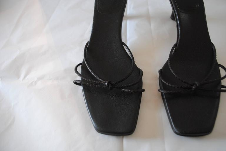 Black Gucci Dark Brown Bamboo Sandals For Sale