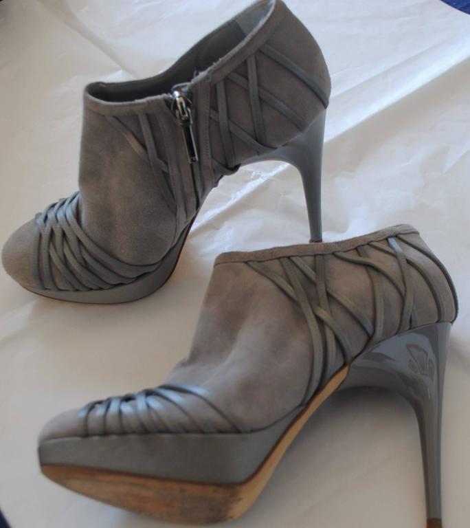 Christian Dior Grey Velvet Leather ankle boot 2