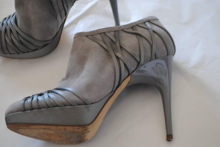 Black Christian Dior Grey Velvet Leather ankle boot For Sale