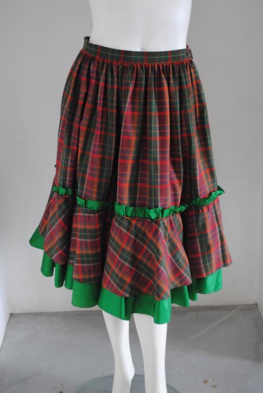 1980s Christian Dior Tartan Skirt 3