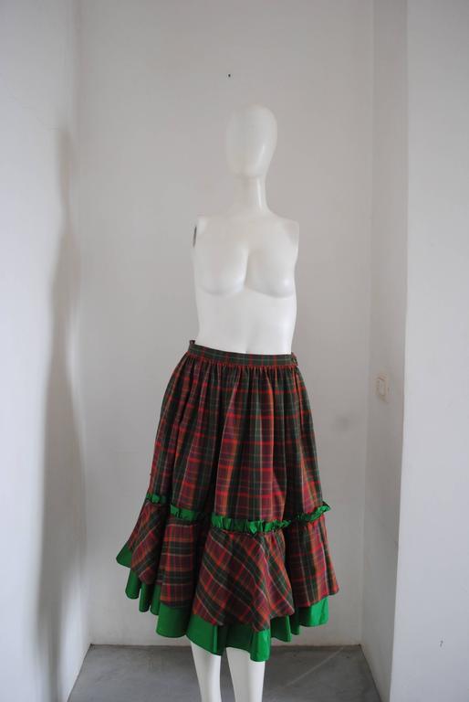 1980s Christian Dior Tartan Skirt 2