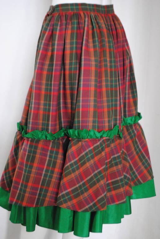 1980s Christian Dior Tartan Skirt 9