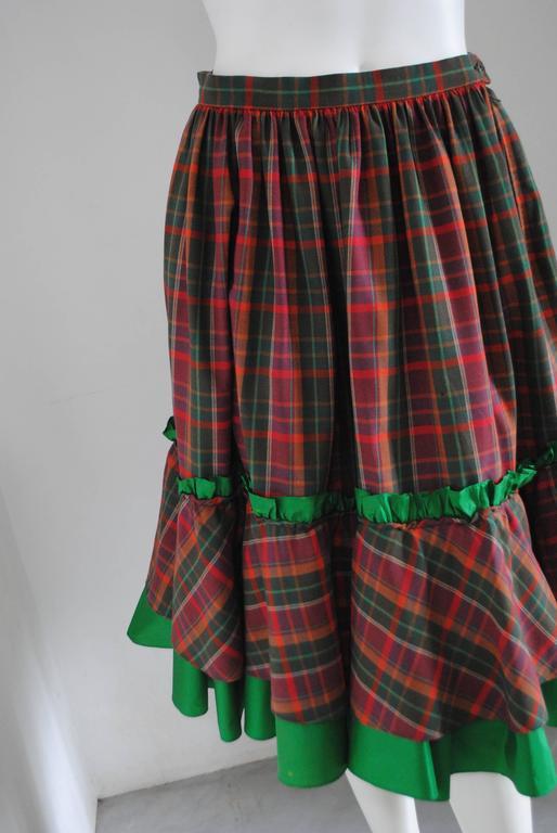 1980s Christian Dior Tartan Skirt 7