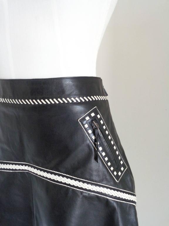 Roberto Cavalli Black Cream Leather Skirt NWOT For Sale at 1stdibs