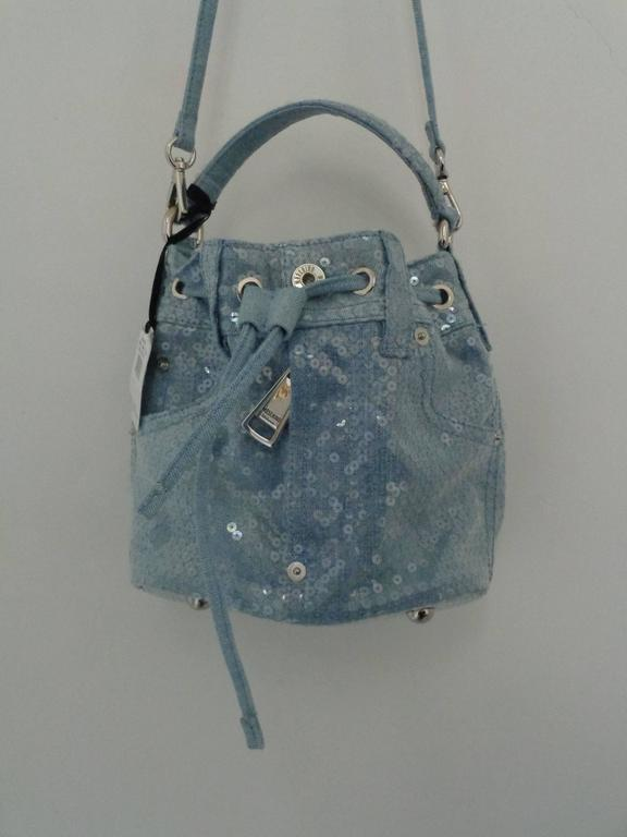 Gray Moschino Couture Denim Bucket Bag with Sequins NWOT For Sale