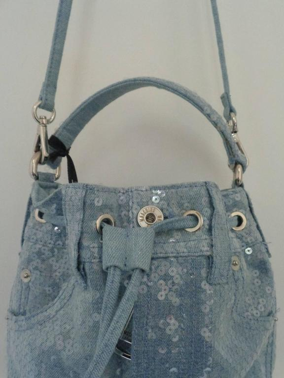 Moschino Couture Denim Bucket Bag with Sequins NWOT In New never worn Condition For Sale In Capri, IT