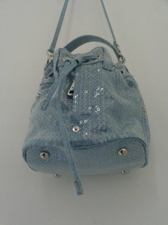 Women's or Men's Moschino Couture Denim Bucket Bag with Sequins NWOT For Sale