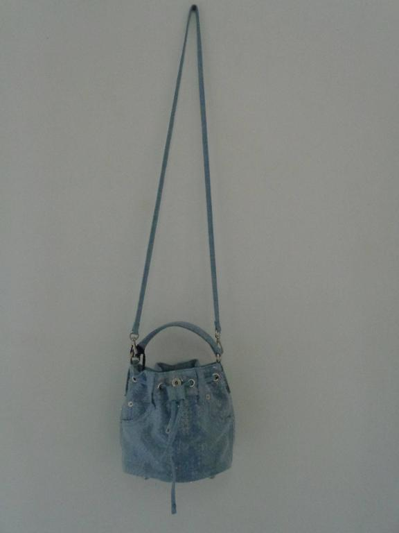 Moschino Couture Denim Bucket Bag with Sequins NWOT For Sale 1
