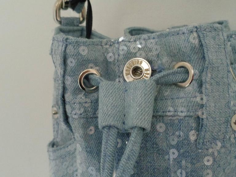 Moschino Couture Denim Bucket Bag with Sequins NWOT 7