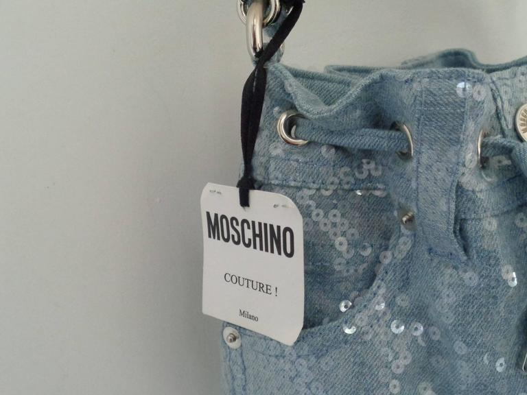 Moschino Couture Denim Bucket Bag with Sequins NWOT 9