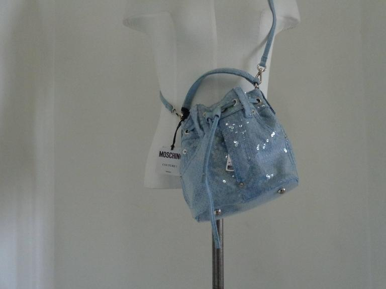 Moschino Couture Denim Bucket Bag with Sequins NWOT For Sale 5