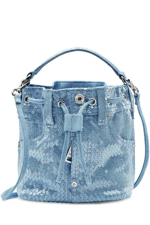 Moschino Couture Denim Bucket Bag with Sequins NWOT 2