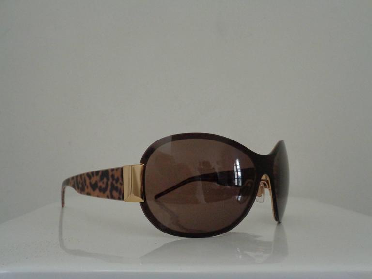 Black Dolce & Gabbana Leopard Sunglasses still with box For Sale