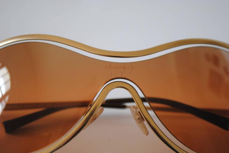 Brown Chanel Peach Gold Sunglasses For Sale
