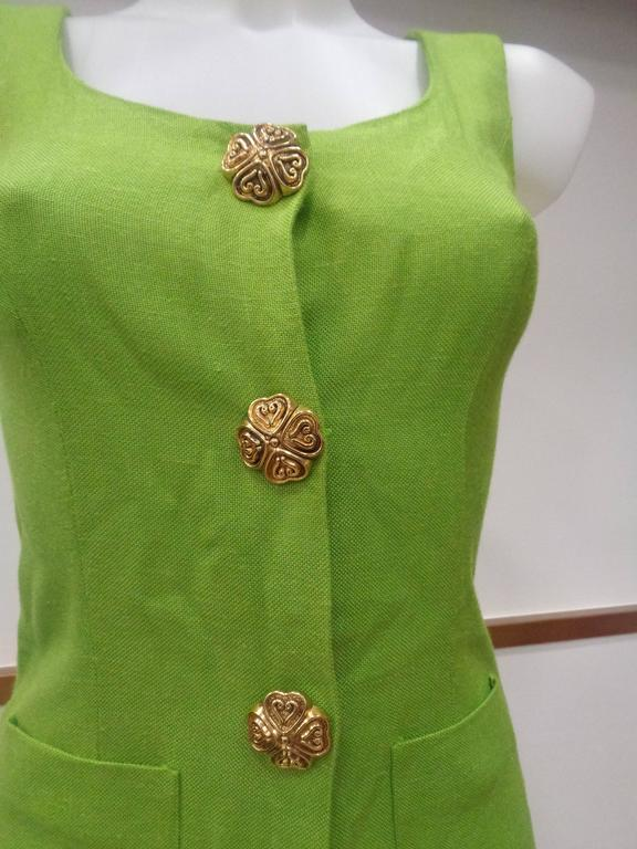 Moschino Green gold tone hardware Dress  Totally made in italy in size 42  Composition: rayon and other