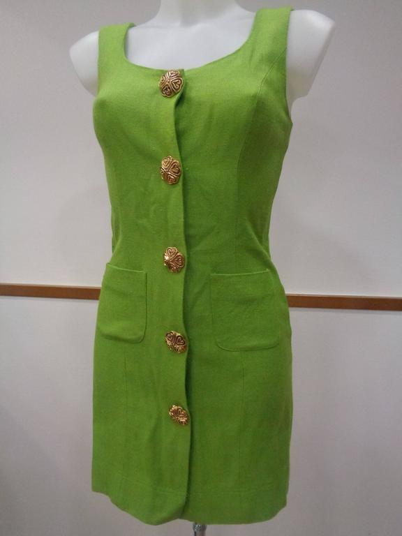 Moschino Green gold tone hardware Dress In Excellent Condition For Sale In Capri, IT