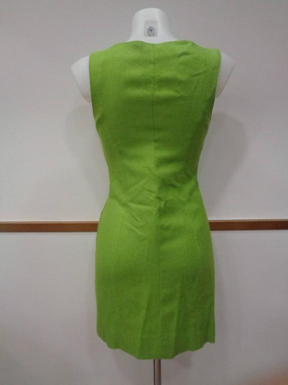 Moschino Green gold tone hardware Dress For Sale 3