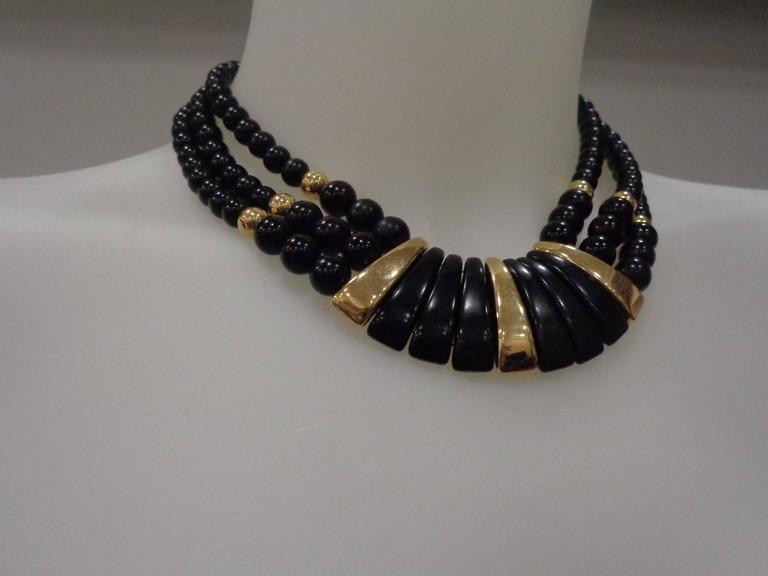 Women's Napier Black Gold Stone Necklace For Sale