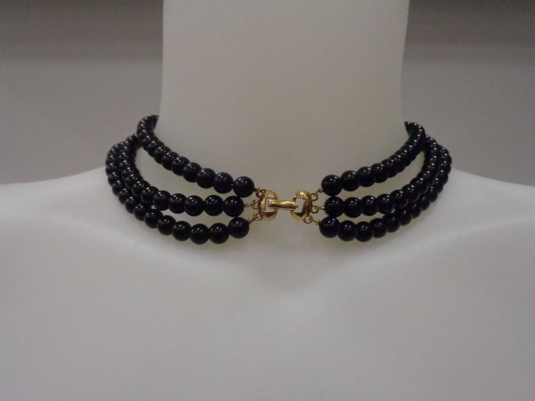 Napier Black Gold Stone Necklace For Sale 1
