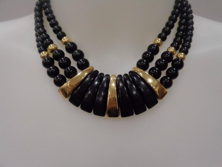 Napier Black Gold Stone Necklace For Sale 2