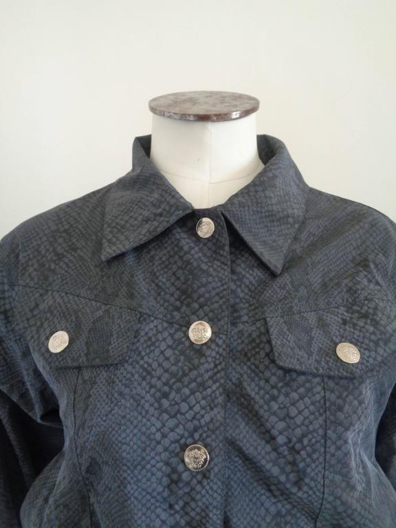 Black Versace Jeans Couture Grey python print Jacket For Sale