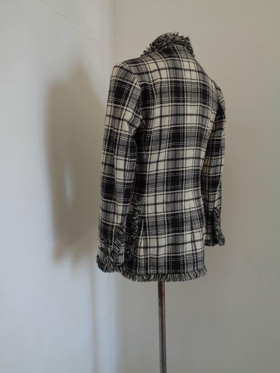 Oaks by Gianfranco Ferre Black & White Wool Jacket For Sale 1
