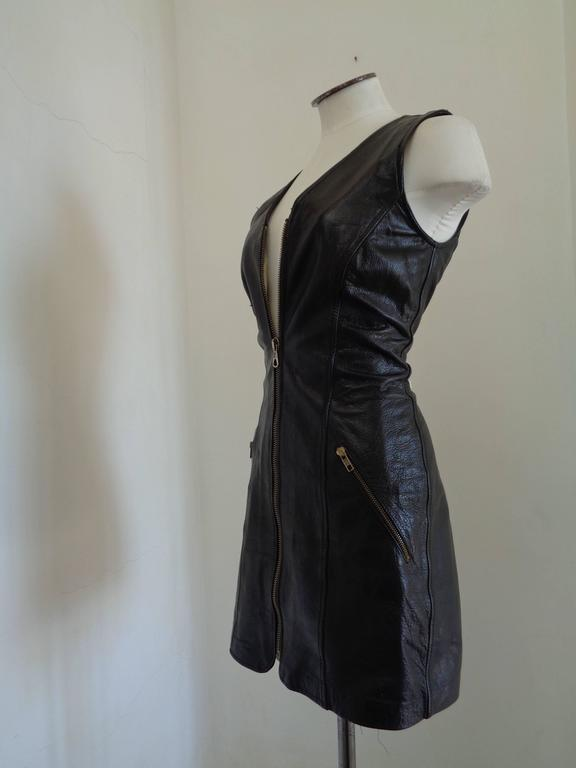 Moschino Cheap & Chic Black Leather Dress In Good Condition For Sale In Capri, IT