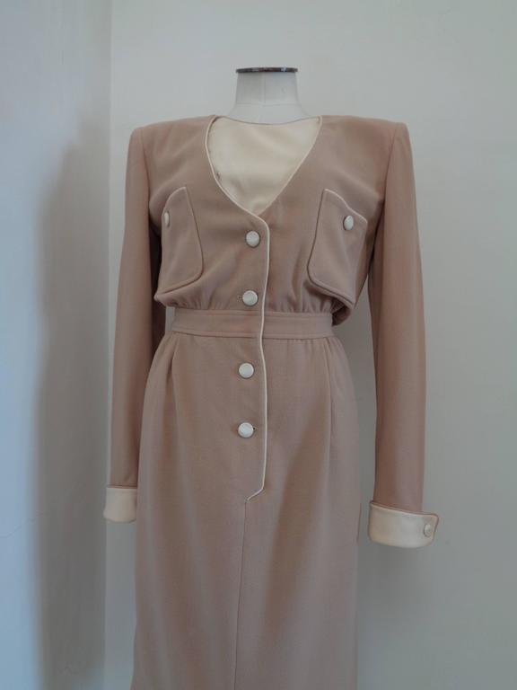 1976 Valentino Beije Cream Dress  Totally made in italy in size US 10