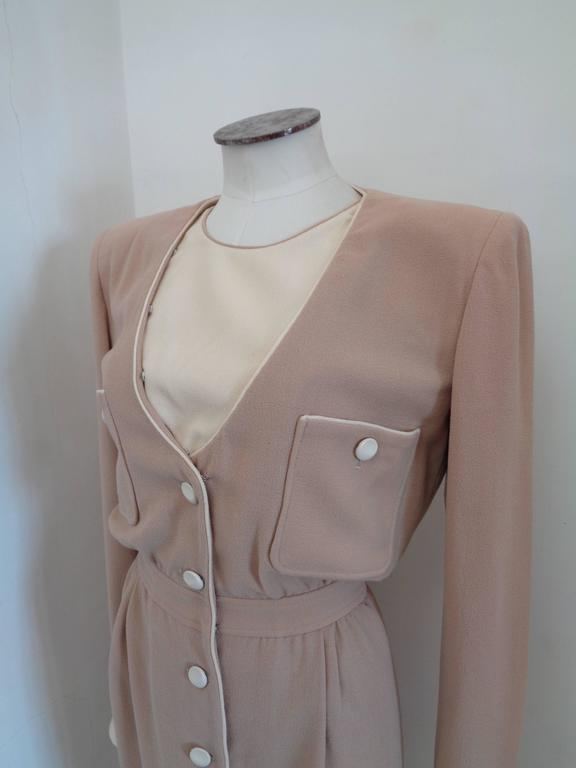 1976 Valentino Beije Cream Dress In Fair Condition For Sale In Capri, IT