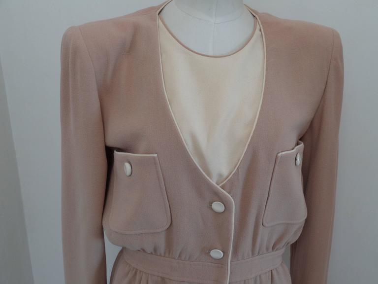 1976 Valentino Beije Cream Dress For Sale 1