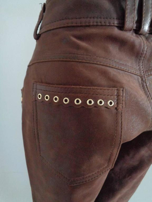 Women's Moschino Brown Leather Pants For Sale