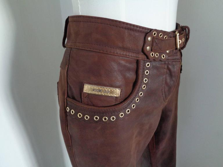 Black Moschino Brown Leather Pants For Sale