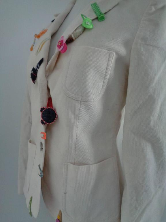 Moschino Jeans White cotton Jacket In Good Condition For Sale In Capri, IT