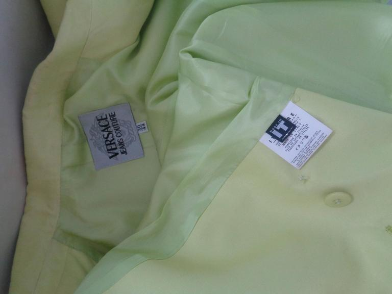 Versace light Green Cotton Jacket In Excellent Condition For Sale In Capri, IT