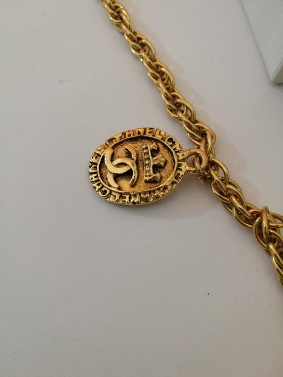 Chanel Gold Tone with CC crown pendants 3