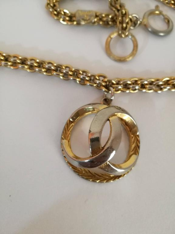 Chanel Gold Tone with CC logo Pendant Necklace 2