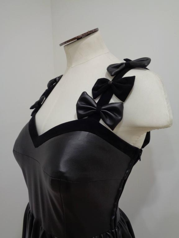 Chanel Black Leather Velvet Bows Dress 3