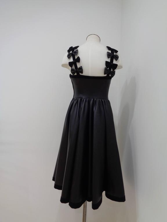 Chanel Black Leather Velvet Bows Dress For Sale 2