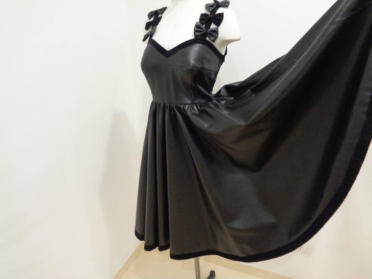Women's Chanel Black Leather Velvet Bows Dress For Sale
