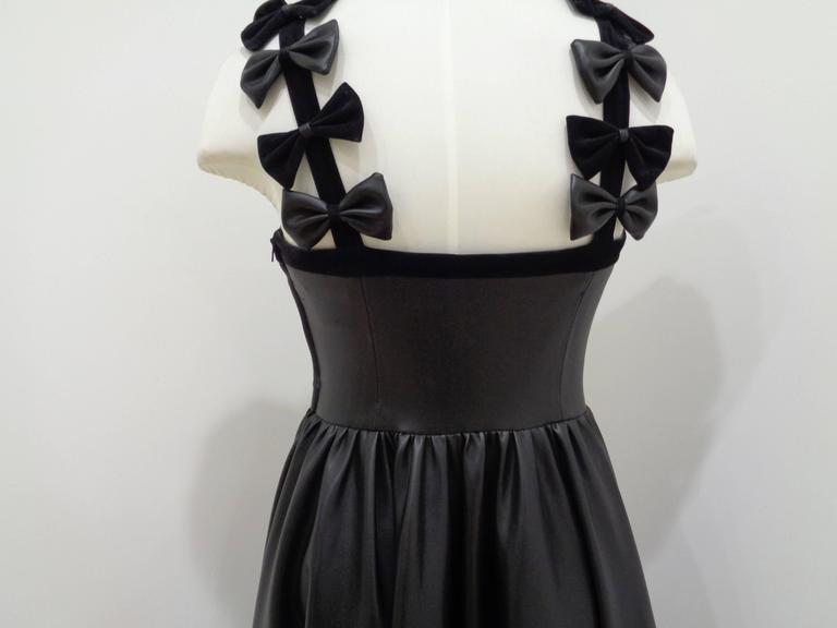 Chanel Black Leather Velvet Bows Dress For Sale 1