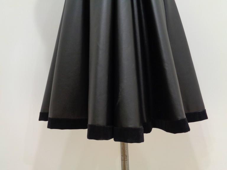 Chanel Black Leather Velvet Bows Dress For Sale 3